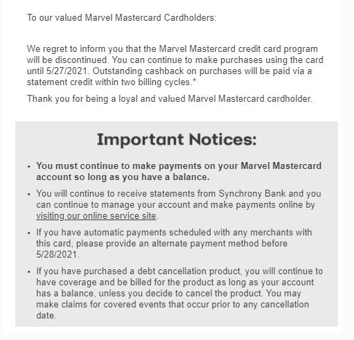 marvel mastercard discontinued
