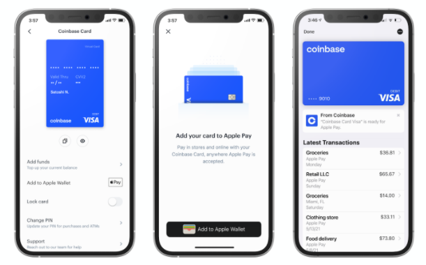 how to add coinbase card to apple pay