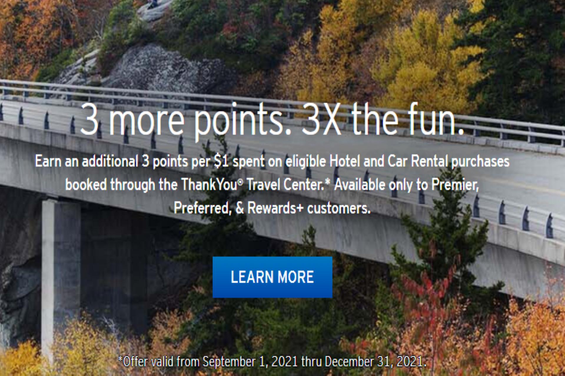 citi thankyou rewards 3X points travel